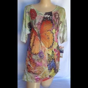 M or L Cactus butterfly tunic with lace NWT